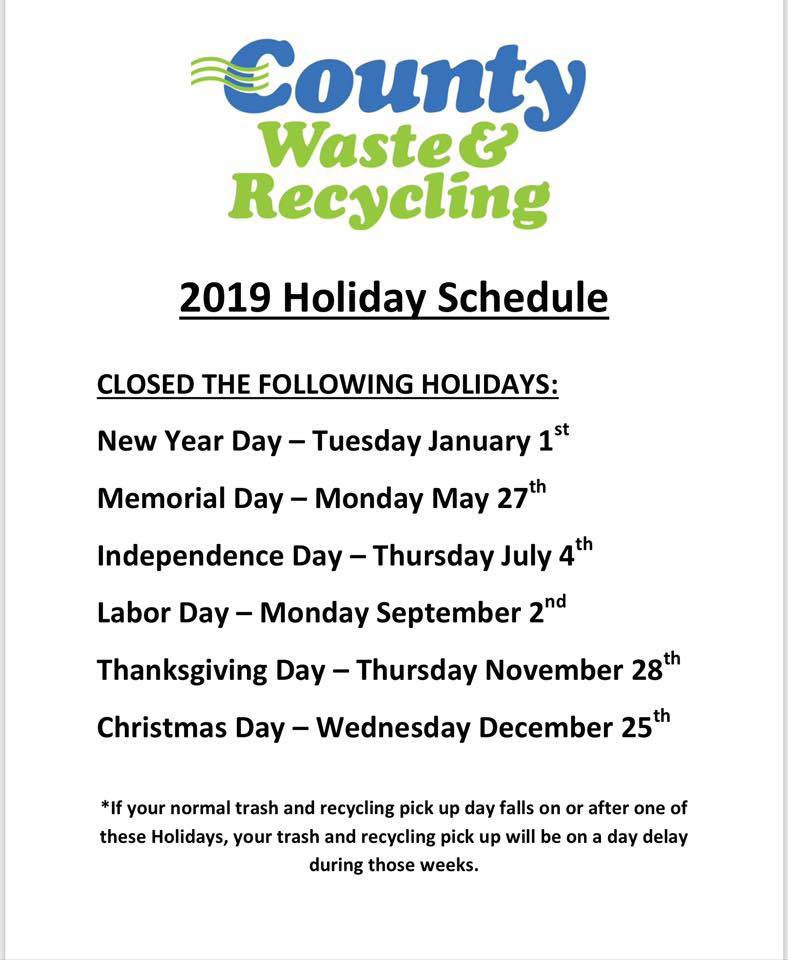 REFUSE 2019 hOLIDAY SCHEDULE