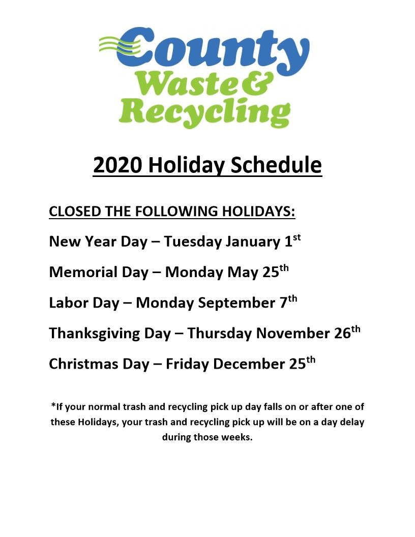 2020 Holiday Schedule v1 1